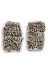 Women's Jocelyn Genuine Rabbit Fur Fingerless Mittens Grey Natural Grey