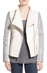 Women's Guess Asymmetrical Zip Faux Leather Jacket Cool Grey White