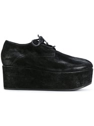 Marsell Platform Derby Shoes Leather Suede Rubber Black