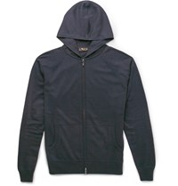 Loro Piana Zip Up Cashmere And Silk Blend Hoodie Blue