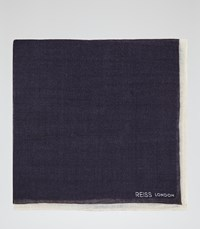 Reiss Crespa Mens Wool Pocket Square In Blue