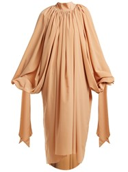 Awake Gathered Crepe Dress Nude