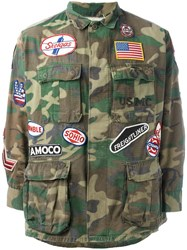 Htc Hollywood Trading Company Military Patch Jacket Green