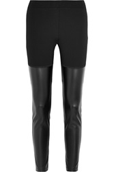 Dkny Faux Leather And Stretch Jersey Leggings Black