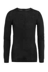 Rick Owens Men Long Sleeved Cotton Top With Cashmere Black