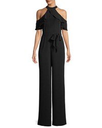 Bebe Cold Shoulder Halter Wide Leg Jumpsuit Black