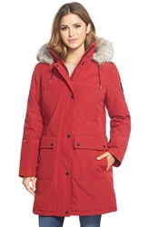 Women's Calvin Klein 'Expedition' Parka With Faux Fur Trim Red