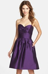 Women's Alfred Sung Strapless Satin Fit And Flare Dress Majestic