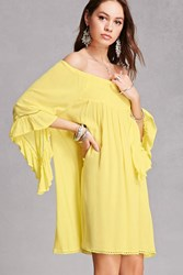 Forever 21 Smock Off The Shoulder Dress Yellow