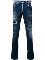 Philipp Plein Embroidered Doodle Pattern Jeans Blue