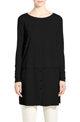 Women's Eileen Fisher Silk Ballet Neck Double Layer Tunic Black