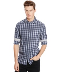 Kenneth Cole Reaction Checked Long Sleeve Button Front Shirt