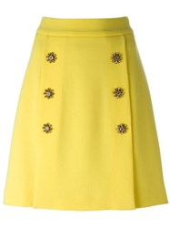 Dolce And Gabbana Buttoned A Line Skirt Yellow And Orange