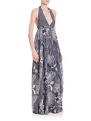 Diane Von Furstenberg Fantasia Silk Maxi Dress Blue Flower Combo