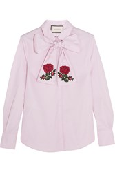 Gucci Embroidered Pussy Bow Cotton Blouse Lilac