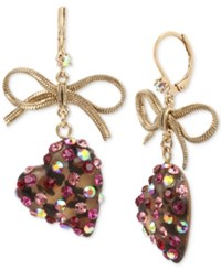 Betsey Johnson Gold Tone Stone Heart And Ribbon Drop Earrings Pink