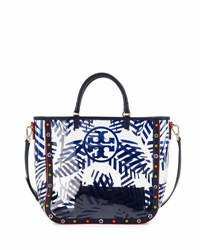 Tory Burch Marguerite Palm Print Pvc Tote Bag Navy