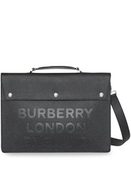 Burberry Triple Stud Logo Embossed Leather Document Case Black