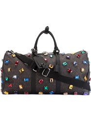 Moschino Monogrammed Gem Weekender Tote Brown