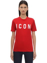 Dsquared Printed Icon Cotton T Shirt Red