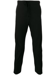 Forme D'expression Curved Leg Trackpants Men Cotton Linen Flax S Black
