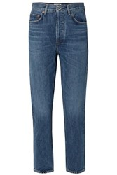 Agolde Riley Cropped High Rise Straight Leg Jeans Blue