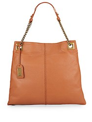 Badgley Mischka Greta Leather Chain Hobo Bag Cognac