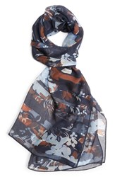 St. John Collection Painted Floral Print Silk Georgette Scarf Navy Multi