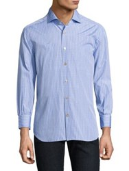 Kiton Plaid Cotton Casual Button Down Shirt Blue