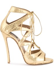 Dsquared2 Strappy Sandals Goat Skin Snake Skin Lamb Nubuck Leather Metallic