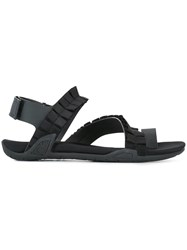 Suecomma Bonnie Angular Ruffle Strap Sandals Black