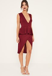 Missguided Burgundy Sleeveless Peplum Midi Dress