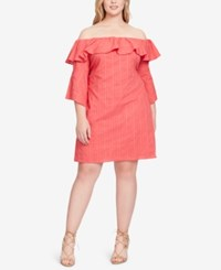 Jessica Simpson Trendy Plus Size Off The Shoulder Shift Dress Cherry