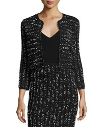 Lela Rose Speckled Tweed Cropped Shrug Black Ivory Black White