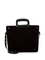 Halston Suede And Leather Satchel Black