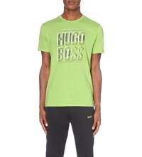 Hugo Boss Logo Print Modern Fit Cotton Jersey T Shirt Light Pastel Green