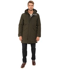 Cole Haan Down Military Parka W Faux Leather Trim Fatigue Men's Coat Green