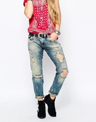 Denim And Supply Ralph Lauren Denim And Supply By Ralph Lauren Skinny Boyfriend Jeans With Extreme Rips Blue