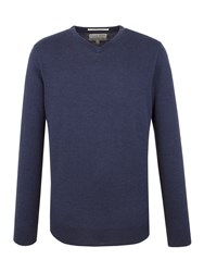 Racing Green Keats V Neck Merino Jumper Navy