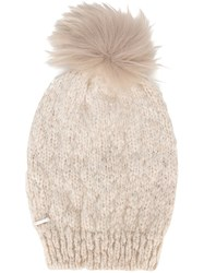 Woolrich Pompom Beanie Nude And Neutrals