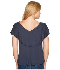 B Collection By Bobeau Cape Back Knit Tee Navy Women's T Shirt