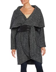 Badgley Mischka Sloan Leather Trimmed Wrap Coat Black Grey