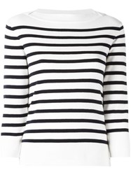 Woolrich Boat Neck Striped Jumper White