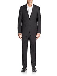 Michael Kors Regular Fit Tonal Check Wool Suit Black