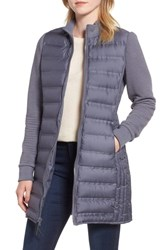 Marc New York Puffer Coat With Puff Knit Sleeves Early Grey