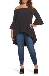Glamorous Plus Size Women's Off The Shoulder Tunic Black