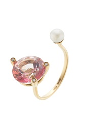 Delfina Delettrez 18Kt Gold Ring With Pink Topaz White Diamonds And Pearl Rose