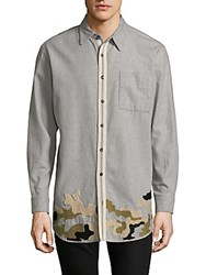 Drifter Embroidered Camouflage Cotton Button Down Shirt Heather Grey