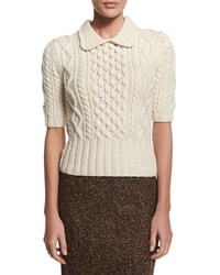 Michael Kors Collection Aran Cable Knit Collared Sweater Vanilla White Size S