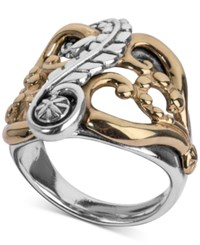 American West Two Tone Fancy Openwork Ring In Sterling Silver And Brass